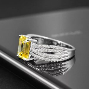 100% Real Sterling Silver. Bohemian Style Rectangle Citrine Gemstone Ring