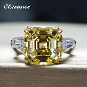 100% Solid 925 Sterling Silver Asscher Cut Citrine Moissanite Ring - Yellow