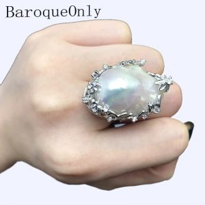 Baroque Natural Freshwater Pearl 925 Sterling Silver Ring