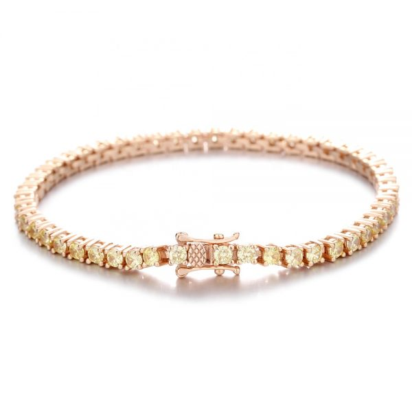 Classic Real 925 Sterling Silver Iced Out Bracelet-Rose Gold