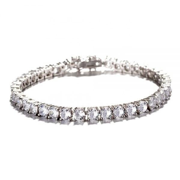 Classic Real 925 Sterling Silver Iced Out Bracelet-White Gold