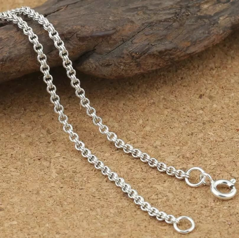 Female Vintage Pendant - 2mm Thick Double Round Circle Chain Necklace