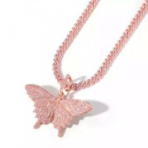 Luxury rose gold plated pink cubic zirconia cuban chain butterfly necklace