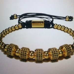 5 Stopper Gold and Silver Roman Classic Stainless and Titanium Bracelet for Men - Gold