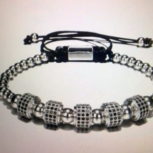 5 Stopper Gold and Silver Roman Classic Stainless and Titanium Bracelet for Men - Silver