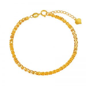 Pure 18K Real Solid Yellow Gold Chain Bracelet
