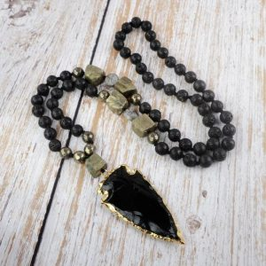 Womens Black Obsidian Necklace